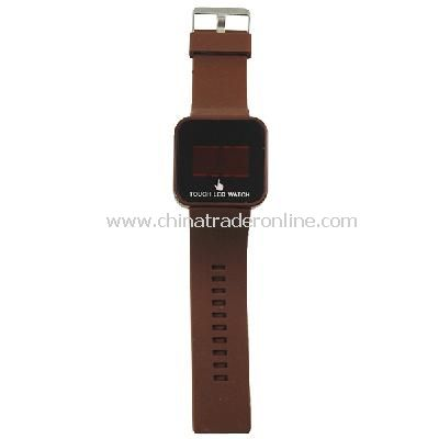 Silicone Touch Screen Creative Red LED Flashing Wristband Watch Brown from China