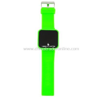 Silicone Touch Screen Creative Red LED Flashing Wristband Watch green