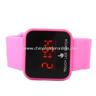 Silicone Touch Screen Creative Red LED Flashing Wristband Watch pink