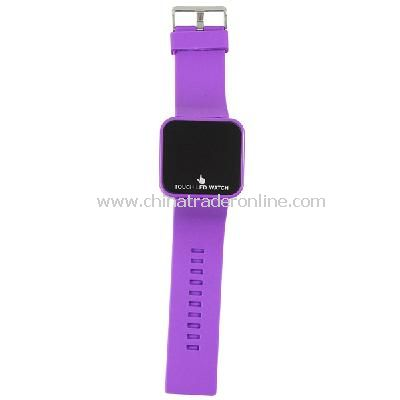 Silicone Touch Screen Creative Red LED Flashing Wristband Watch purple