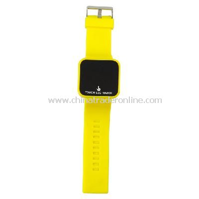 Silicone Touch Screen Creative Red LED Flashing Wristband Watch yellow