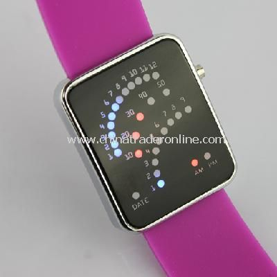 29 LED Blue Red Light Digital Date Time Lady Men Wrist Watch