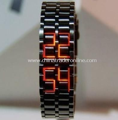 Black Stainless Steel LED RED Digital Unsex Bracelet Watch