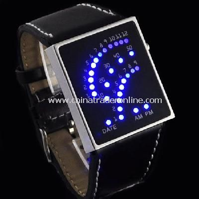 New 29 LED Blue LED Digital Unsex Black Leather Watch
