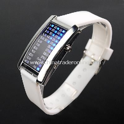 New Fashion Men Womens 29 Flash Blue LED Digital Sport Watch White