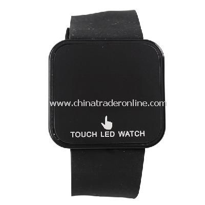 Silicone Touch Screen Creative Red LED Flashing Wristband Watch black