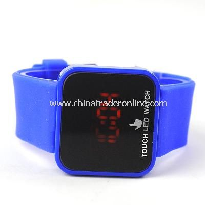 Silicone Touch Screen Creative Red LED Flashing Wristband Watch deep blue