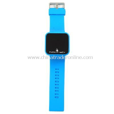 Silicone Touch Screen Creative Red LED Flashing Wristband Watch light blue