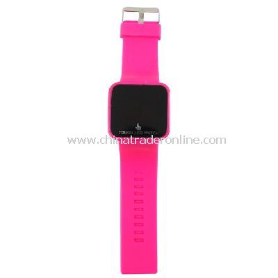 Silicone Touch Screen Creative Red LED Flashing Wristband Watch rose red
