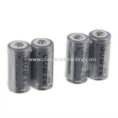 3.6V 880mAh 16340 Li-ion Rechargeable Battery with Protection PCB(4pcs)