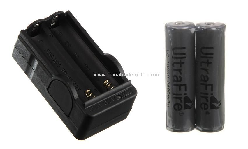 Double Channel 18650 Lithium Battery Travel Charger with 2pcs 18650 2400mAh PCB Batteries