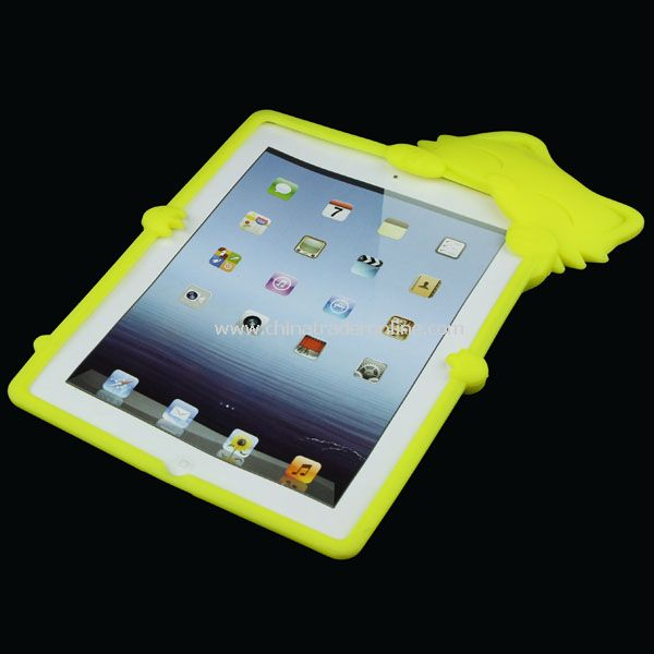 Cute KiKi Cat Silicone Case Back Cover Skin for iPad 2 Yellow