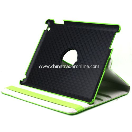iPad 2/3 360 Rotating Magnetic Leather Case Smart Cover Stand Green