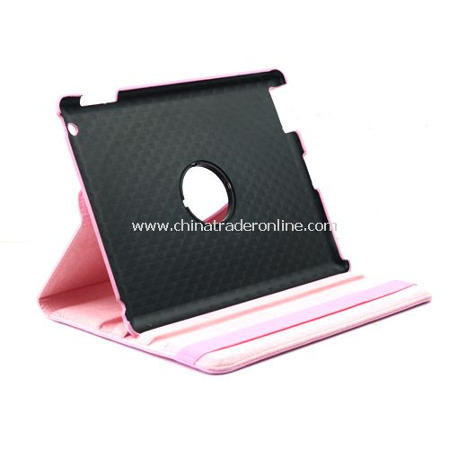 iPad 2/3 360 Rotating Magnetic Leather Case Smart Cover Stand Pink from China