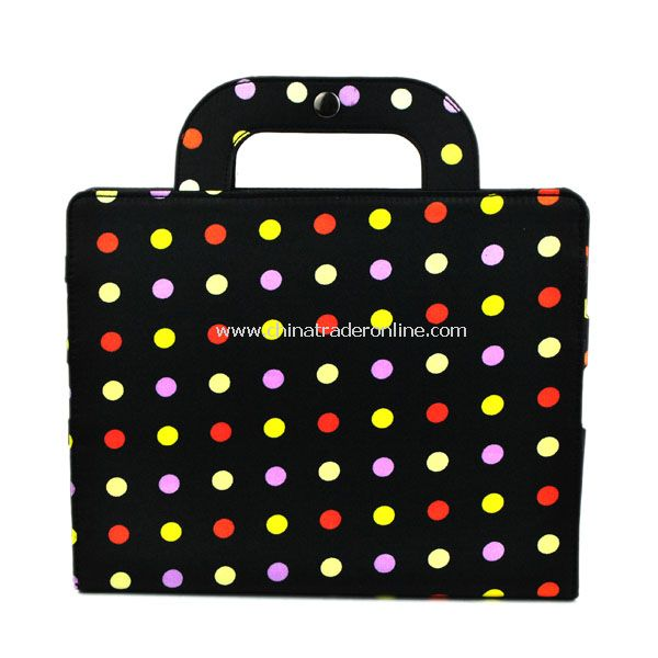 Stylish Black dot Portable PU Leather Bag Case Cover Hand Bag Case Protector for iPad 2 iPad 3