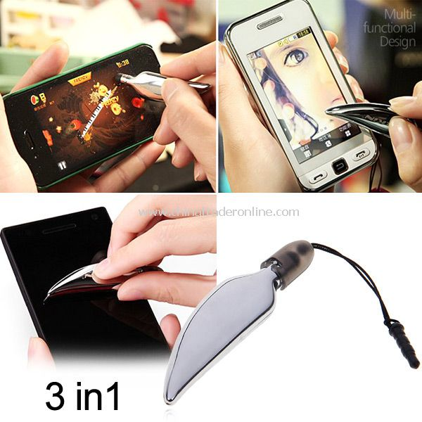 3 in 1 Multi-function Capacitive/Resistive Touch Pen with Dustproof Earphone Plug Screen Wiper