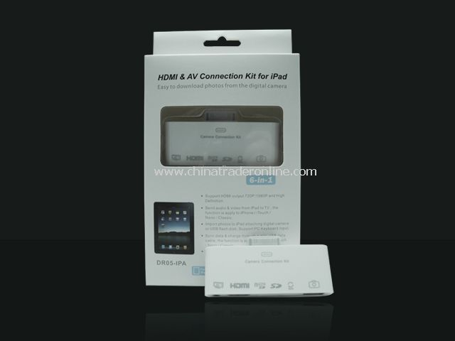 6 in 1 HDMI Dock Connection Kit Adapter Multi Card Reader for iPad 1/2/3 iPhone 4/4S iPod Touch 4