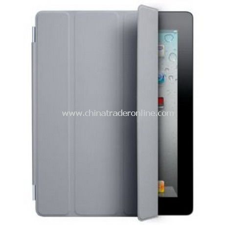 iPad 2 Smart Cover Case Black Leather(gray) from China