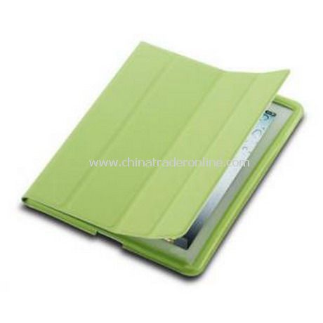 iPad 2 Smart Cover Case Black Leather(Green)