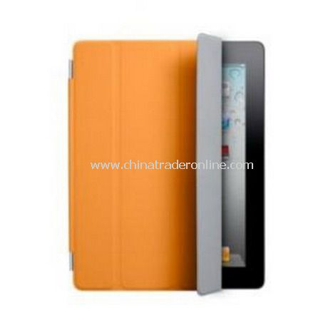iPad 2 Smart Cover Case Black Leather(Orange)