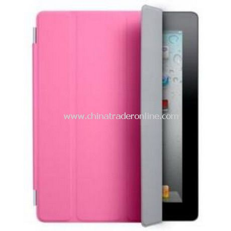 iPad 2 Smart Cover Case Black Leather(Pink)