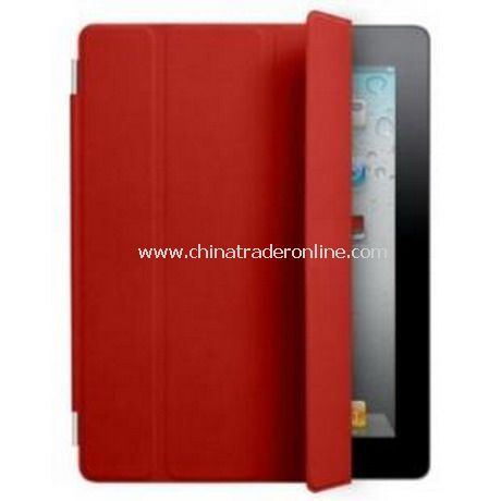 iPad 2 Smart Cover Case Black Leather(red)