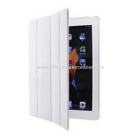 iPad 2 Smart Cover Case Black Leather(white) from China