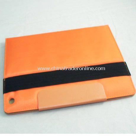 PU Leather Cover Case for iPad 2 ORANGE