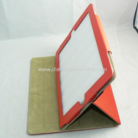 PU Leather Cover Case for iPad 2 red
