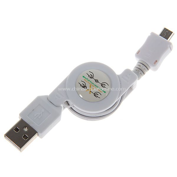 Retractable Micro USB Charger Cable for Nokia/Moto/Samsung/LG/HTC/Blackberry More White