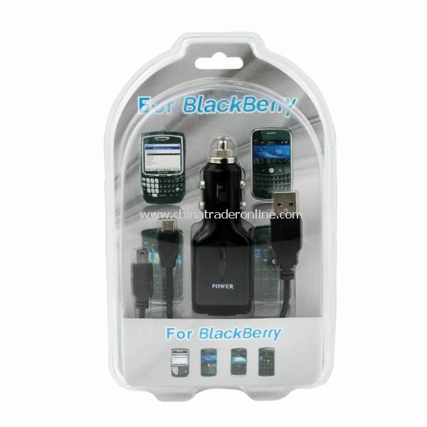 USB CAR CHARGER + USB CABLE FOR Blackberry CELL PHONE