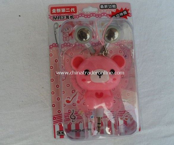 3.5mm Plugy Earphone Catoon Style Automatic Flexible Earphone Pink Rilakkuma