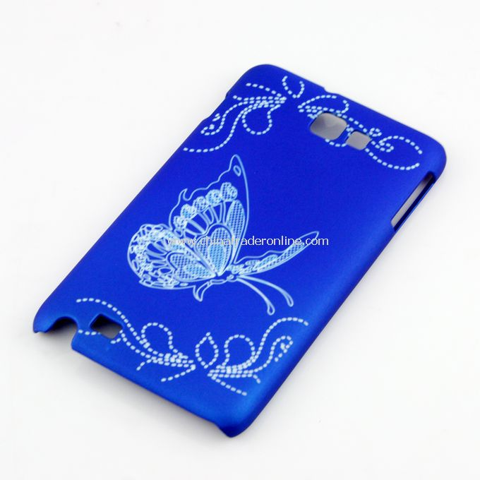 Butterfly Pattern Plastic Hard Case Cover for SAMSUNG I9220 Galaxy Note N7000 Blue