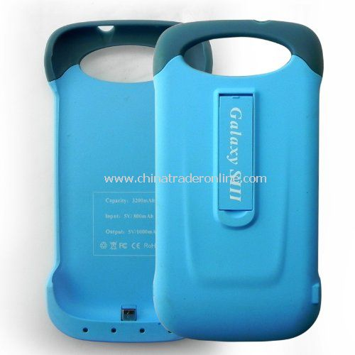 External Power Backup Rechargeable Battery 3200mah Hard Case Cover with Stand for Samsung Galaxy S3