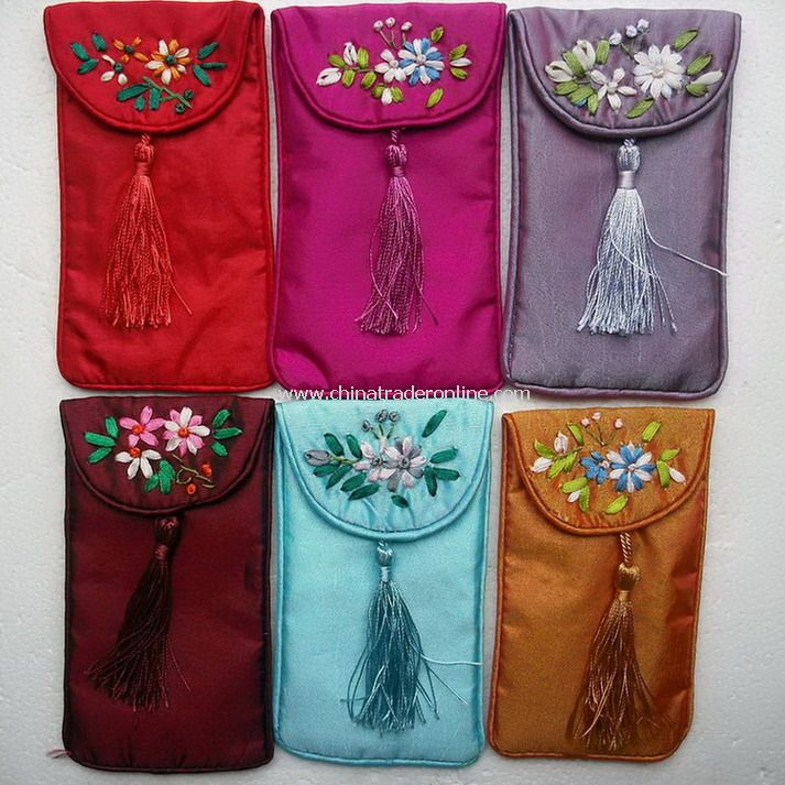 Silk Brocade Flowered Pouch for Phone MP3 Jewelry Articles Pocket etc Craft Gift