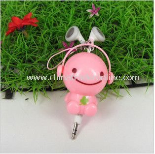 3.5mm Plugy Earphone Catoon Style Automatic Flexible Earphone Pink Sunny Doll
