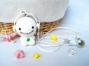 3.5mm Plugy Earphone Catoon Style Automatic Flexible Earphone White Sunny Doll