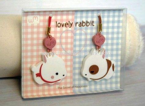 Couple love rabbits phone pendant