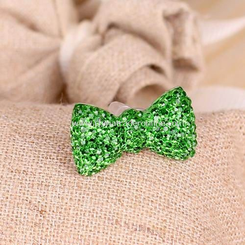 Crystal bow iphone headset hole dust plug / universal cell phone headset jack dust plug green
