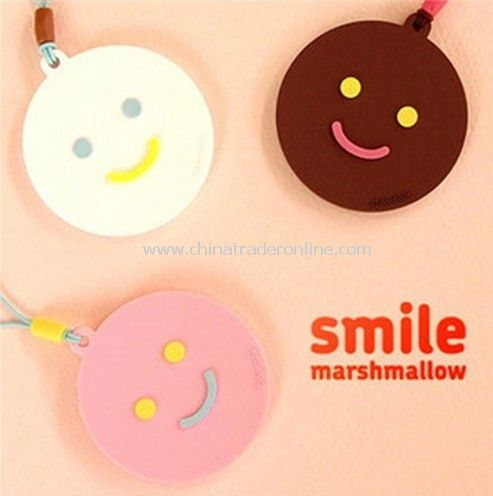 Lovely round smiling face lanyards / mobile pendant random color from China
