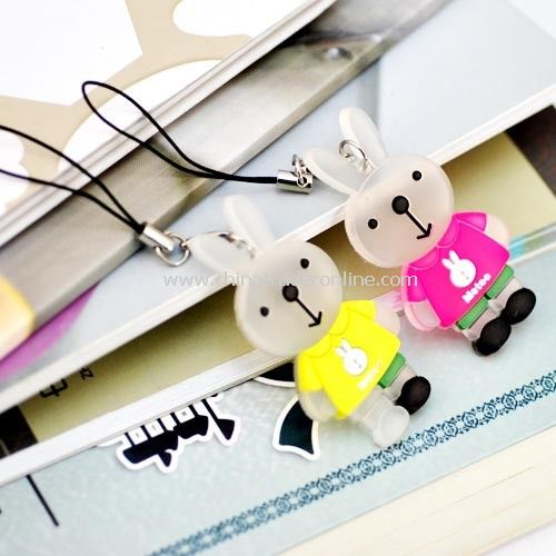 The microphone rabbit couple phone pendant (one pair) random color