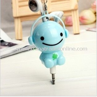 3.5mm Plugy Earphone Catoon Style Automatic Flexible Earphone Blue Sunny Doll