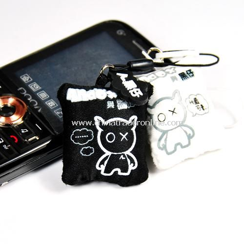 An amuse rub with Blackie couple phone screen / mobile phone pendant