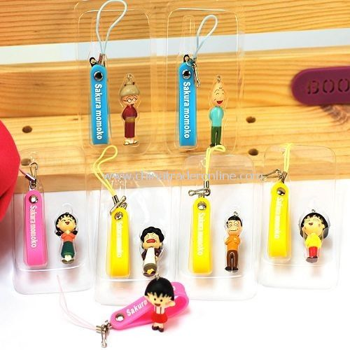 Chibi Maruko family key chain / mobile phone chain random color