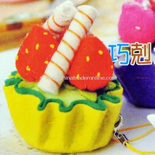 DIY manual weaving phone pendant - chocolate bars, cake random color from China