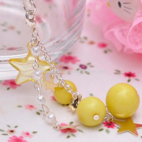The lovely star matched the yellow ball / pearl pendant