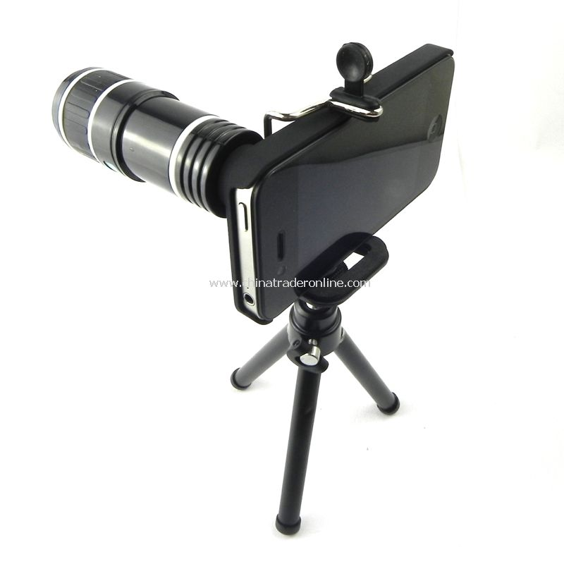 12X Zoom Telescope Camera Lens Kit Tripod Stand Case for iPhone 4 4S 4G