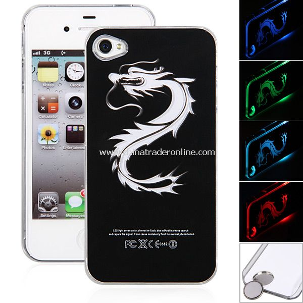 Dragon Pattern Flash LED Color Changed Protector Case for iPhone 4/4S