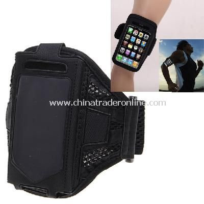 Stylish Reticular Sports Armband Pouch Case Arm Strap Holder for iPhone 4 4S - Black from China