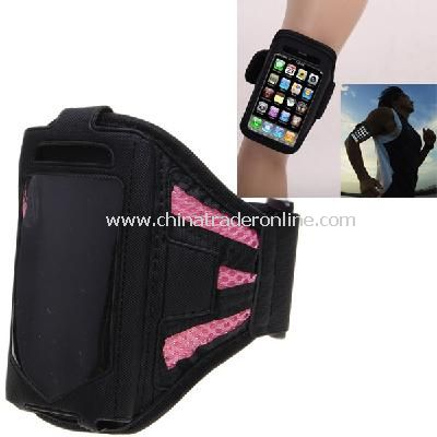 Stylish Reticular Sports Armband Pouch Case Arm Strap Holder for iPhone 4 4S - Pink